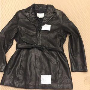 Nine West Leather Jacket Size Lg